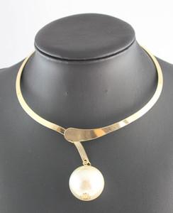 Новый дизайн Коренастый Gun Black \ Золото \ Серебро Заявление цепи Big Pearl Bib Воротник Ожерелье