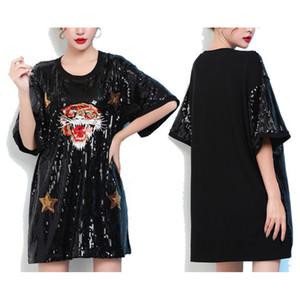 Ночной клуб Sexy Loose Блестками с короткими рукавами Вышивка Показать футболку Tiger Head Dress Шею Женские Дамы Девушки Топы Черный