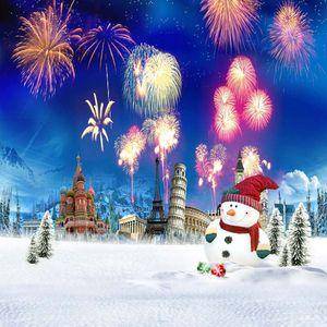 Bunte Feuerwerk blauer Himmel Schloss Fotografie-Hintergrund Eiffelturm im Freien Winter Schnee Scenic Snowman Kinder Fotostudio Hintergrund Paris
