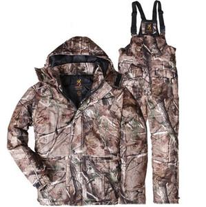 Livraison gratuite 1 Costume BROWNING hiver coupe-vent imperméable Realtree AP Camo de chasse Vêtements Sweats à capuche + Salopette Vêtements camouflage ski