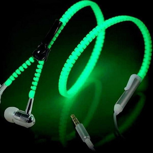 Fashion Sports Wired Zipper Earphones Headset Luce luminosa Glow in the Dark Cuffie auricolari in metallo con microfono per il telefono