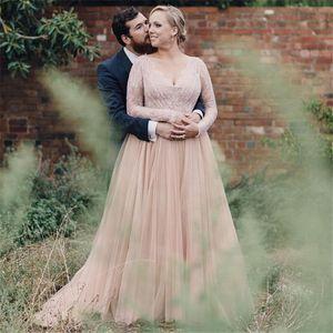 2019 богемные свадебные платья bling плюс размер с длинными рукавами V-образным вырезом Line Тюль винтажные свадебные платья для беременных кантри Вестерн