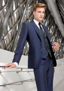 Groom Slim adatto per picco risvolto il miglior uomo vestito blu migliore uomo vestito da ballo di nozze da uomo fine lavoro personalizzato