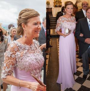 2020 Yeni Lavanta Anne Gelin Elbiseler Jewel Boyun Dantel Aplikler İnciler Yarım Kollu Dantelli Şifon Illusion Düğün Konuk törenlerinde