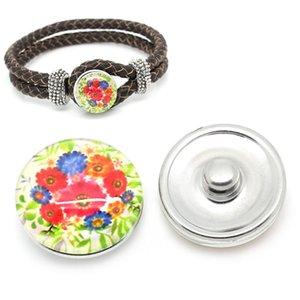 Noosa 12 stili Crystal Button 18mm Snap intercambiabile Piccolo fiore rotondo DIY Ginger Snap Bottone per gioielli con bottone Fibbia di vetro