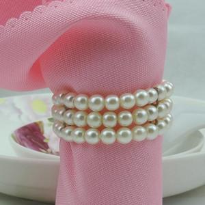 Qualità Perle bianche Anelli per tovaglioli Hotel Accessori per feste da matrimonio Decorazioni per la tavola forniture Anelli di tovagliolo di nozze di lusso