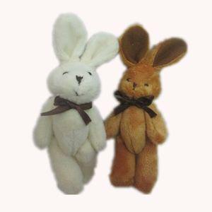 Розничная H=11 см плюшевые мини кролик галстук-бабочку кролика совместных животных мультфильм букет куклы фаршированные подвески мягкие игрушки