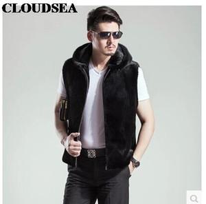 Fall-Mink Skin Fur Vest With Hoodie Mens Black Waistcoat Designer Sleeveless Jackets For Men High Quality Luxury Vests Stylish