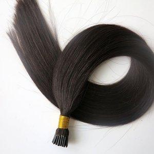 Produits pré-collés I Tip Brésiliens d'extensions de cheveux humains 50g 50Strands 20 22inch # 1B / Off Noir Indien cheveux raides produits