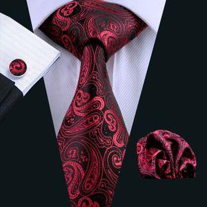 Hommes Cravate en soie rouge Paisely Set Hanky Boutons de manchette Jacquard Cravate tissée ensemble du travail d'affaires Réunion formelle Loisirs N-0314