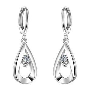 Pendientes de plata de ley 925 Pendientes de plata de circón cúbico para mujeres Moda Earing E614