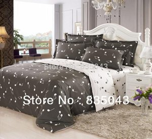 100%Cotton musical notes comforters duvet cover Bedding four set Retro bed linen music notes bedding queen size Free shipping!