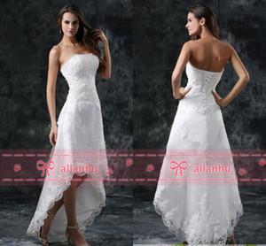 Heißer Verkauf New Günstige Volle Spitze Hallo-lo Brautkleider Trägerlosen Appliques Hi-lo Backless Weiß Hochzeit Brautkleider CPS110