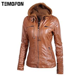 Toptan-TEMOFON Kadınlar Sonbahar Kış Ceketler Faux Deri Temel Fermuar Dikiş Casual Dış Giyim Coat S-6XL Büyük Bayanlar Ceketler EWT4279
