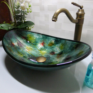 Banyo temperli cam lavabo el sanatları tezgah üstü tekne şeklinde havza yıkama havzaları vestiyer şampuan damar lavabo HX017