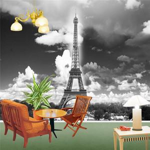 Özel 3D Duvar Duvar Fotoğraf Kağıdı Eyfel Kulesi Paris Şehir Nostalji Gri Duvar Kağıdı Oturma Odası TV Kanepe Zemin Için