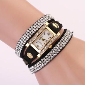 2015 hot 2015 New Best Selling Mode Lady Femmes Robe Montre Bracelet Strass Tissé En Cuir Strass Quartz Bracelet Montre Quartz Montre-Bracelet