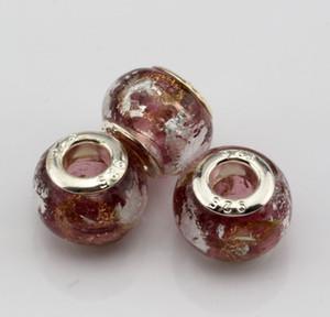 """Ventes ! 100 Pcs Violet Or Argent Feuille D'alphabet """"e"""" Lampwork Verre Grand Trou Perles Fit Bracelet Perlé Bijoux DIY"""