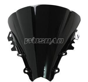 Motocicleta Doble burbuja Parabrisas Moto WindScreen para 2006-2007 Yamaha YZF 600 R6 06 07 Color negro
