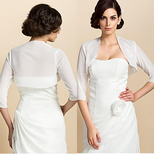 Ivoire en mousseline de soie Bolero Jacket pour robes de soirée manches trois quarts de mariage Wraps livraison gratuite femmes robe veste