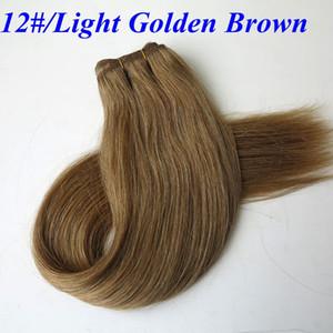최고 품질 인간의 머리 wefts 브라질의 머리카락 weaves 100g 20inch 12 # 라이트 황금 갈색 스트레이트 머리 번들 인도 머리 확장