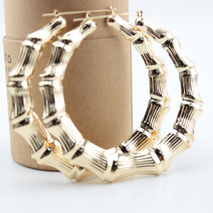 Toptan-Hollow Hoop Küpeler İçin Kadınlar Küpe Moda Takı 90MM Bambu Hoop Küpeler