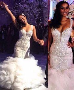 Винтажные русалки свадебные платья с ремнями спагетти оборками из бисером кристаллы, искровые свадебные платья слои BodyCon арабское свадебное платье
