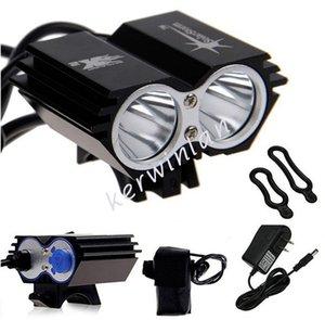 Luces solares para bicicleta Faros delanteros Faros delanteros 2x CREE U2 LED 2000LM Bicicleta delantera Luz bicicleta Luces de destello al aire libre + Batería + Cargador