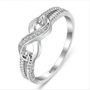 Оптово-Подлинные 925 Кольца ювелирных изделий стерлингового серебра для женщин Wedding Lady Инфинити 3.5 Размер кольца