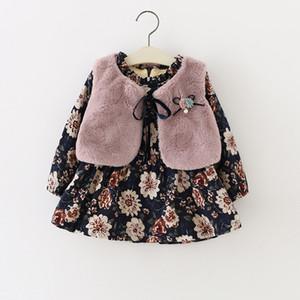 Winter Baby Infants Girls Kids Children Faux Fur Fleece Waistcoat Vest+Vintage Princess Long Sleeve Dress Vestido 2pcs Set