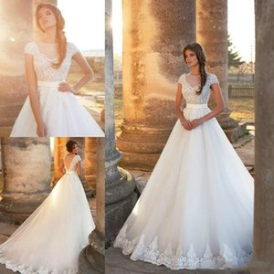 Stunning Lace Sheer Wedding Dresses Capped 2018 Bride Tulle Illusion Bodice Milla nova Chapel Train Plus Size Garden Ball Bridal Gown