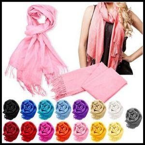 40 Farben 65 * 190cm Pashmina Kaschmir-feste Quaste-Schal-Schal-Verpackungs-Frauen Schal-weiche Fransen-Normallack-Schal CCA8248 100pcs