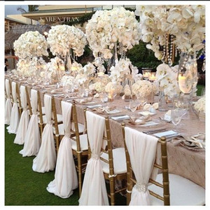 Romantico Chiffon Wedding Party Anniversary Chair Sash Party Decorazioni per banchetti 20 pezzi / set Wedding Chair Sash 150cmx50cm