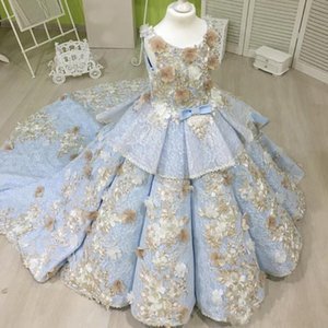 Sky Blue Ball Gown Girls Pageant Gowns With Champagne Flowers Lace Tiered Flower Girl Dresses For Wedding Sweep Train Baby Party Dress