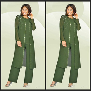 3 Parça 2019 Şifon Anne Gelin Pant Suits Jewel Uzun Kollu Ordu Yeşil Artı Boyutu Anne Elbise Akşam Parti törenlerinde Ucuz