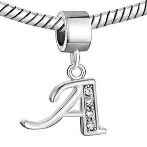 Letra Inicial Do Alfabeto De Strass cristal A-H Letras Dangle Charme Europeu espaçador Contas Serve Para Pulseira Pandora