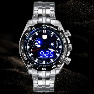 Orologio da uomo sportivo Orologio LED High-end watche TVG Marchio di lusso Business Casual Orologi Moda blu Orologio binario Orologio in acciaio inossidabile 3168