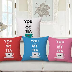 Tú eres MI taza de té, bigote, funda de cojín, algodón de lino grueso, funda de almohada 45X45 cm Sofá Sofá Funda de almohada Decoración