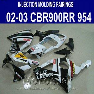 Kit de carénage de haute qualité pour carénages Honda cbr900rr 954 2002 2003 CBR900 RR blanc noir Kit de carrosserie PLAYBOY CBR954 02 03 YR27