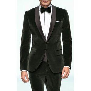2018 Black Velvet Business Party Trajes de hombres Novio Wear Shawl Lapel Blazer One Button Trim Fit Wedding Tuxedos (Jacket + Pants)