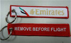 Emirates Airline Remove Before Flight Keychain Key Chain Luggage Pilot Tags 13x2.8cm 100pcs lot