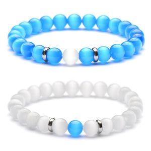 Nueva Pulsera de Acero Inoxidable Espaciador de Piedra de Ópalo Natural 8 MM Blanco Ojo de Gato Azul Joyería de Pulsera para Mujeres Hombres