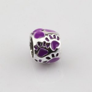 Venda quente ! 50 pcs 8x10mm roxo Esmalte Pegada Grande Buraco Spacer Beads Fit Pulseira DIY Jóias