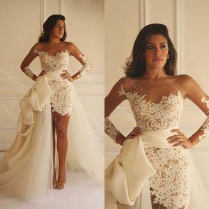 2019 Sexy Summer Beach Wedding Dresses Sheath Detachable Train Long Sleeve Sheer Neck Applique Lace Yasmine Yeya Bridal Gowns Custom Cheap