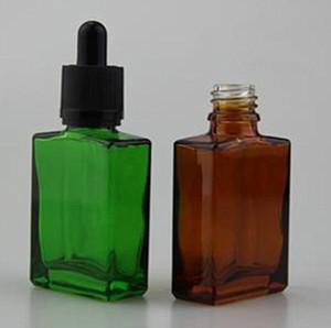30 ml e flacon compte-gouttes en verre liquide plat carré e bouteille de jus rectangle huile essentielle avec compte-gouttes en verre pur pour cigarette électronique