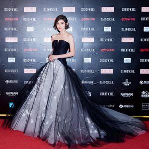 Nueva llegada vestido negro 2019 BALL GOWN PROM para mujer sin tirantes con cordones elegante dama ropa en boutique