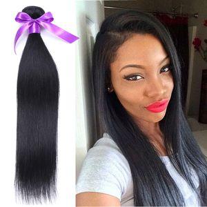 4 paquetes brasileños de pelo recto humano teje 100 g / pcs Natural negro brasileño virgen del pelo paquetes rectas tramas de pelo brasileñas tramas