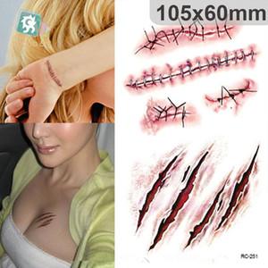 Halloween pegatinas de tatuaje Simulación broma sangre cicatriz tatuajes herida cicatriz Halloween efectos especiales maquillaje Pintura corporal tatuajes impermeables