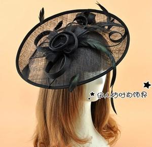 멀티 컬러 케이트 미들턴 브래지어 모자 헤어 액세서리 커다란 깃털 플라워 웨딩 웨딩 브라 Accessores Royal Sinamay Fascinator Hat