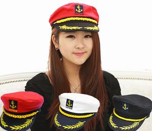 도매 브랜드 새로운 2015 빈티지 브랜드 새로운 한국어 스타일 남자 플랫 캡 유니폼 캡틴 선장 선원 모자 모자 블랙 화이트 레드
